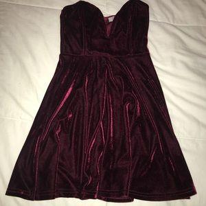 Strapless velour dress